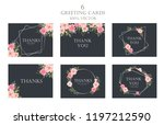 set of 6 thank you cards.... | Shutterstock .eps vector #1197212590