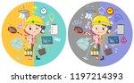 a set of working women who...   Shutterstock .eps vector #1197214393