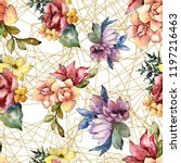 watercolor colorful bouquet... | Shutterstock . vector #1197216463
