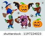 halloween character set. flying ... | Shutterstock .eps vector #1197224023