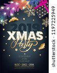 xmas party glowing letters with ... | Shutterstock .eps vector #1197225949
