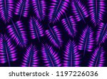 abstract neon palm leaves... | Shutterstock . vector #1197226036