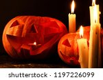 orange pumpkins jack o' lantern ... | Shutterstock . vector #1197226099