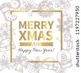 merry christmas trendy greeting ... | Shutterstock .eps vector #1197227950