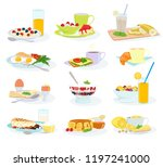 breakfast vector morning food... | Shutterstock .eps vector #1197241000