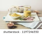 ceramic tray with jar and bowl... | Shutterstock . vector #1197246550