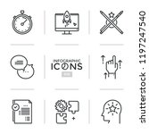bundle of thin line icons ... | Shutterstock .eps vector #1197247540
