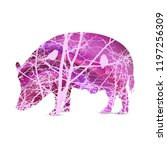 silhouette of boar with... | Shutterstock .eps vector #1197256309