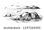 sea sketch with rocks and gulls.... | Shutterstock .eps vector #1197265450