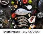 up view of fresh sea food on... | Shutterstock . vector #1197272920