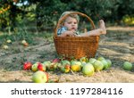 a small smiling boy stands in... | Shutterstock . vector #1197284116