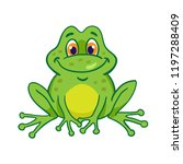 little funny frog is sitting.... | Shutterstock .eps vector #1197288409
