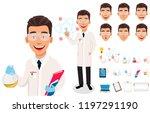 scientist man. handsome cartoon ... | Shutterstock .eps vector #1197291190