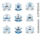 royal crowns emblems set.... | Shutterstock .eps vector #1197302143