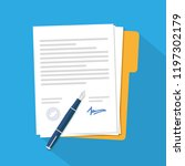 contract icon agreement pen on... | Shutterstock .eps vector #1197302179