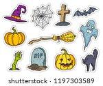 colorful line art halloween... | Shutterstock .eps vector #1197303589