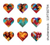contemporary hearts of... | Shutterstock .eps vector #119730754