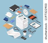 vector isometric office work... | Shutterstock .eps vector #1197322903