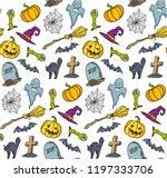 vector colorful halloween... | Shutterstock .eps vector #1197333706