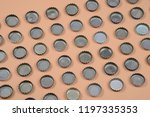 bottle caps lined up in color... | Shutterstock . vector #1197335353