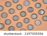 bottle caps lined up in color... | Shutterstock . vector #1197335356