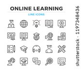 online learning line icons set. ... | Shutterstock .eps vector #1197348436