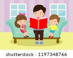 father reading fairy tales to... | Shutterstock .eps vector #1197348766