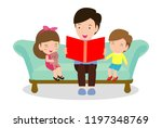 father reading fairytales to... | Shutterstock .eps vector #1197348769