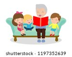 grandfather reading fairy tales ... | Shutterstock .eps vector #1197352639