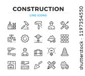 construction line icons set.... | Shutterstock .eps vector #1197354550