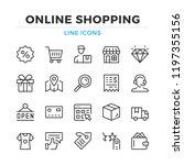online shopping line icons set. ... | Shutterstock .eps vector #1197355156