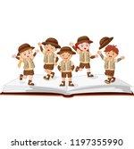 kids explorer on top of an open ... | Shutterstock .eps vector #1197355990