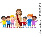 kids with jesus christ | Shutterstock .eps vector #1197355999
