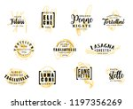 pasta silhouettes symbols with... | Shutterstock .eps vector #1197356269