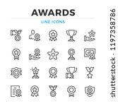 awards line icons set. modern... | Shutterstock .eps vector #1197358786
