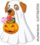 halloween costume dog holding... | Shutterstock .eps vector #1197362533