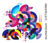 bird colorful vector abstract... | Shutterstock .eps vector #1197365980