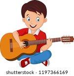 cartoon boy playing guitar   Shutterstock .eps vector #1197366169
