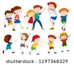 set of happy children ... | Shutterstock .eps vector #1197368329