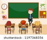 teacher and students classroom... | Shutterstock .eps vector #1197368356