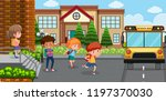 student go back home by bus... | Shutterstock .eps vector #1197370030