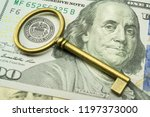 key on us dollars banknote near ... | Shutterstock . vector #1197373000