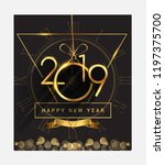 happy new year 2019 with... | Shutterstock .eps vector #1197375700