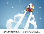 go to the moon  the spaceship... | Shutterstock .eps vector #1197379663