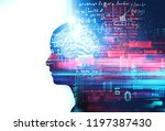 silhouette of virtual human on... | Shutterstock . vector #1197387430
