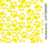 Yellow Seamless Paws Pattern ...