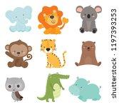 Stock vector set of cute animal wildlife vector 1197393253