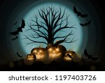 dark cute halloween pumpkins... | Shutterstock .eps vector #1197403726
