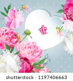 a picturesque peony flower....   Shutterstock .eps vector #1197406663