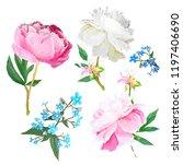 peonies  forget me nots. scenic ... | Shutterstock .eps vector #1197406690